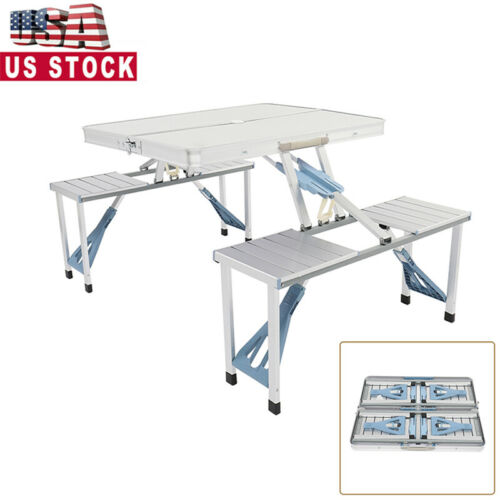 Details about  /Outdoor Camping Folding Table Portable Folding Camping Picnic Table Case 4 Seats