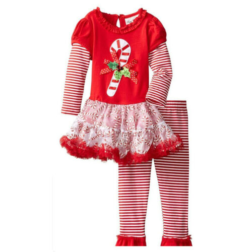 UK Seller Girls Christmas Outfit Party Dress Top Trousers 2pc set Candy Cane