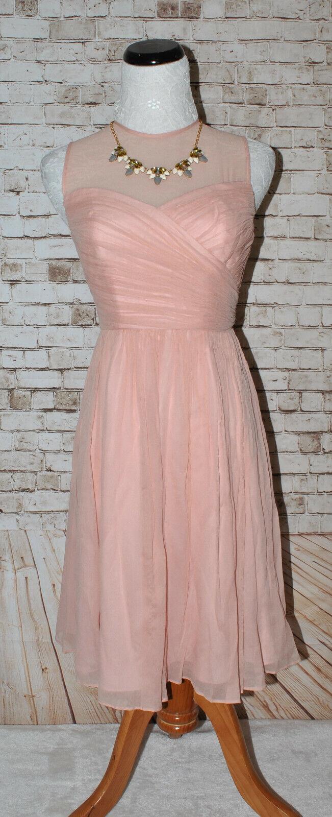 J.Crew Womens Clara Bridesmaid Dress A0032 Silk Chiffon Misty Rose Pink PO