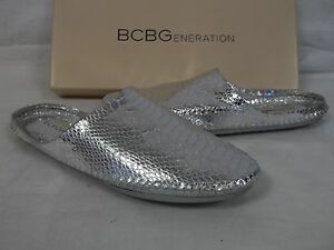BCBGeneration BCBG Größe Leder 7.5 M Xylo Silver Leder Größe Slides New Damenschuhe 86f53b