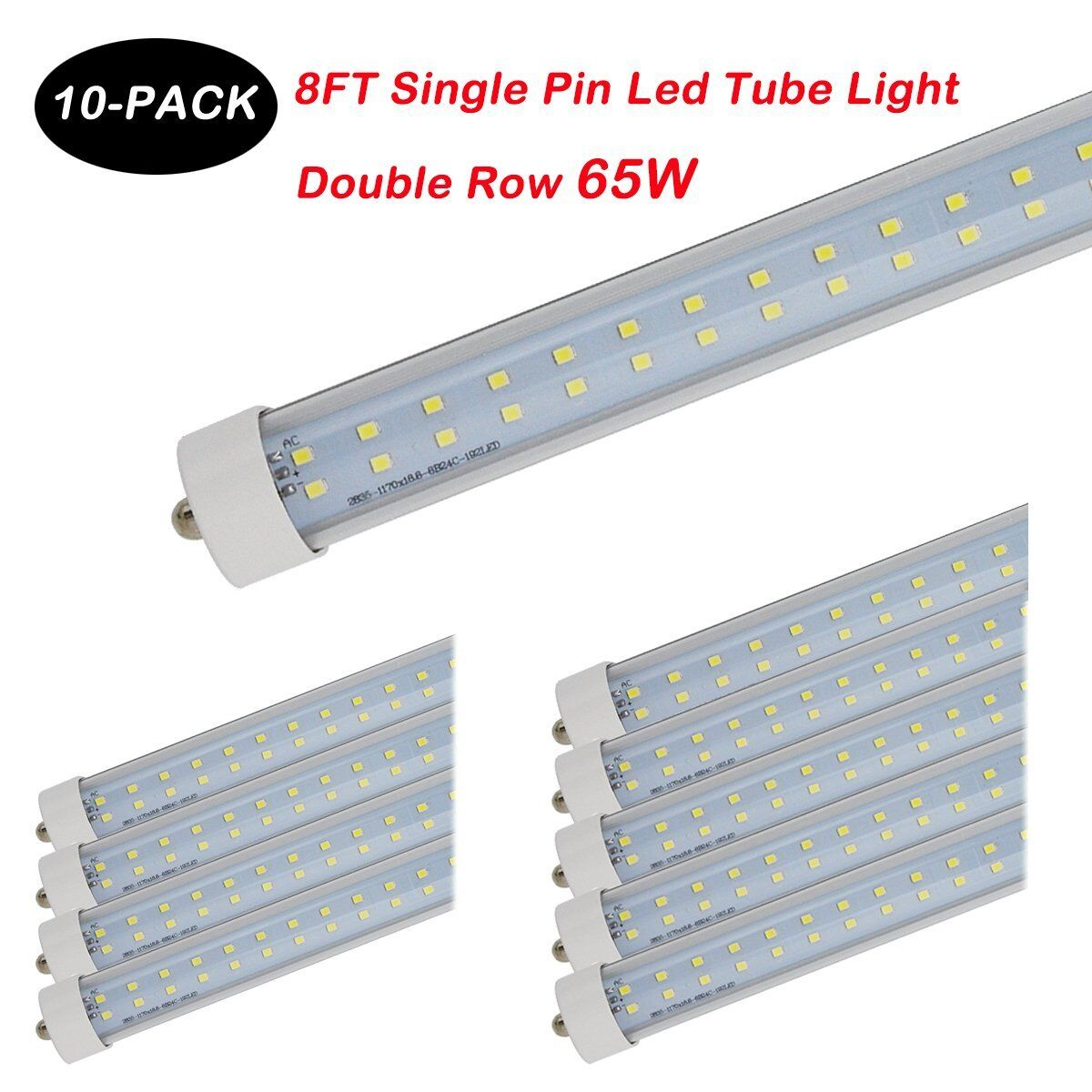 10X 8FT 65W Single Pin FA8 T8 T12 2 Row  LED Tube Light 6500K 85-277V Clear NEW