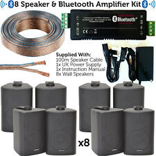 Bar/Restaurant Bluetooth Amplifier Kit–8x Black Wall Speaker–Wireless Background