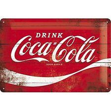 Coca Cola, Drink Logo Refresh, Retro Wood effect, Medium 3D Metal Embossed Sign