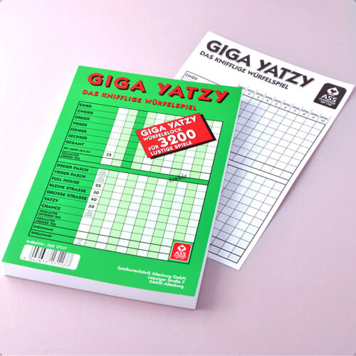 1 Giga Yatzy Würfelblock 160 Blatt DIN A5, Knobelblock, Schreibblock von Frobis