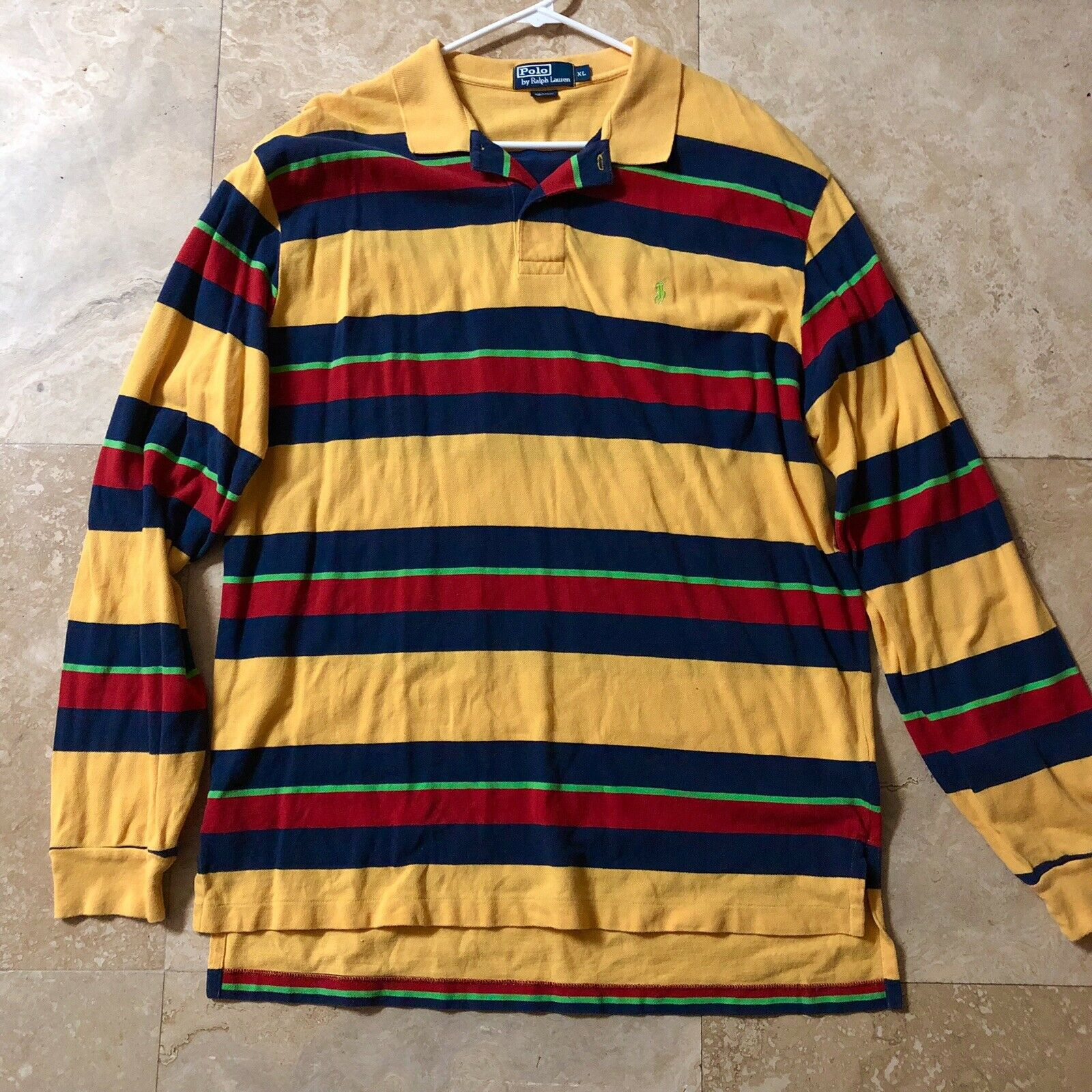 cd7444c5 VTG Polo Ralph Lauren Red bluee Lime Long Sleeve Polo Rugby Shirt XL 90s  Yellow noutuq4254-Casual Button-Down Shirts