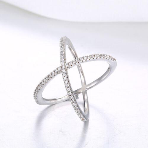 Jewelry Micro Setting Cross Ring X-shaped CZ Size 6-19