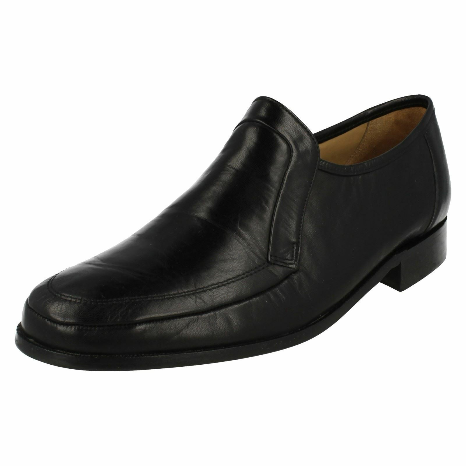 Mens Baxter Black Leather Slip On Formal Shoe By Thomas Blunt