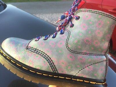 Brioso Dr Martens 8175 Blu Verde Rosa Floreale Stampa Stivali In Pelle Uk 4 Eu 37-mostra Il Titolo Originale