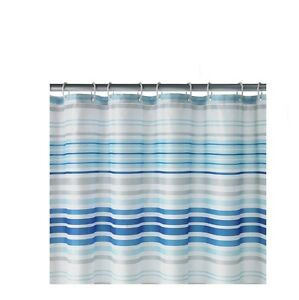 Image Is Loading New Stylish HOME Skinny Stripe Shower Curtain Blue