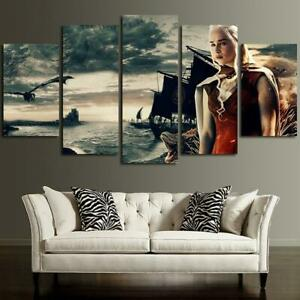 5-Panels-Daenerys-Targaryen-Canvas-Art-Game-Of-Thrones-Print-Artwork-Decor-Home