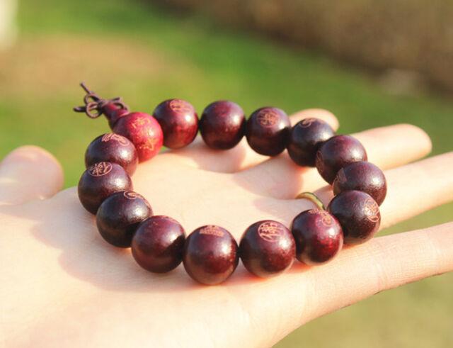 14mm Black wood Buddha Beads Tibetan Buddhism Bracelet