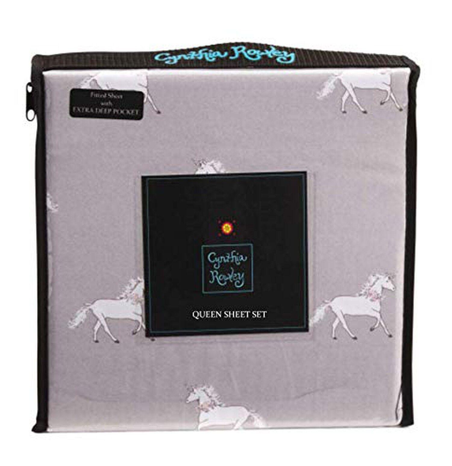 Cynthia Rowley Sheet Set Microfiber Sketched Unicorn (Grey, Queen)