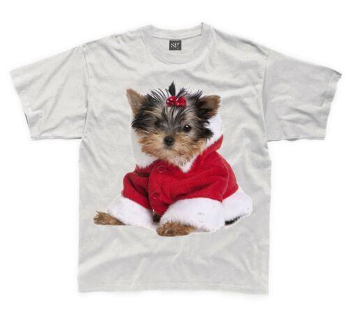 Yorkshire terrier chiot santa claus père noël enfants t-shirt-childrens