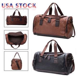 Image is loading Large-Leather-Men-Handbag-Duffel-Bag-Gym-Travel- ffd3678509