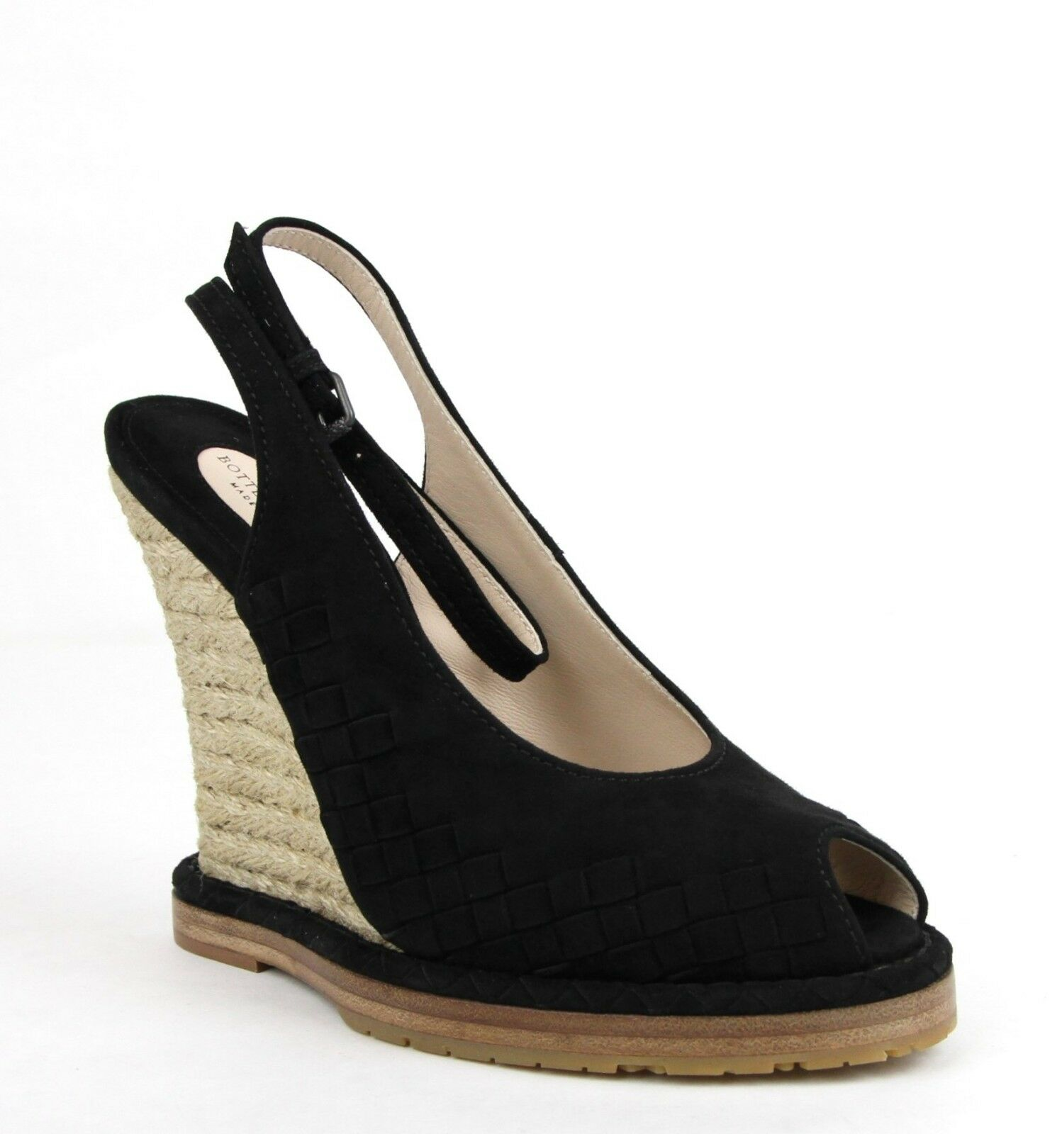990 Bottega Veneta Womens Black Suede Woven Intrecciato Straw Wedge 465179 1000