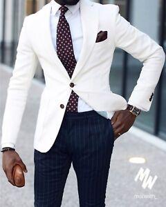 f69f58f8d84 Men's Ivory Jacket Navy Pants Slim Fit Suit Groom Tuxedo ...