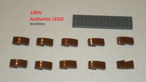 6069984 Brick 11477 LEGO NEW 1x2x0.66 Reddish Brown Slope Curved 10x