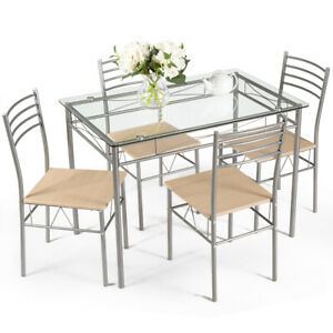 5-Piece-Dining-Set-Table-And-4-Chairs-Glass-Top-Kitchen-Breakfast-Furniture-New