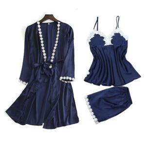 Image is loading 3PCS-Women-Night-Dress-Silk-Satin-Pajama-Sleepwear- 002bb1a1c