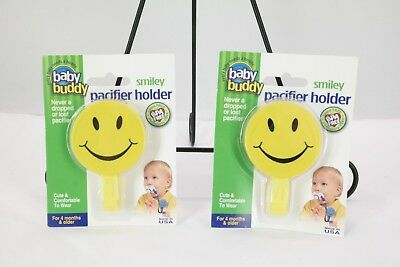 Baby Buddy Smiley Pacifier Holder Blue