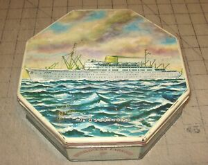 """1950s/60s M/S OSLOFJORD CRUISE SHIP Norway Octagon Shaped 8"""" Candy/Cookie Tin"""