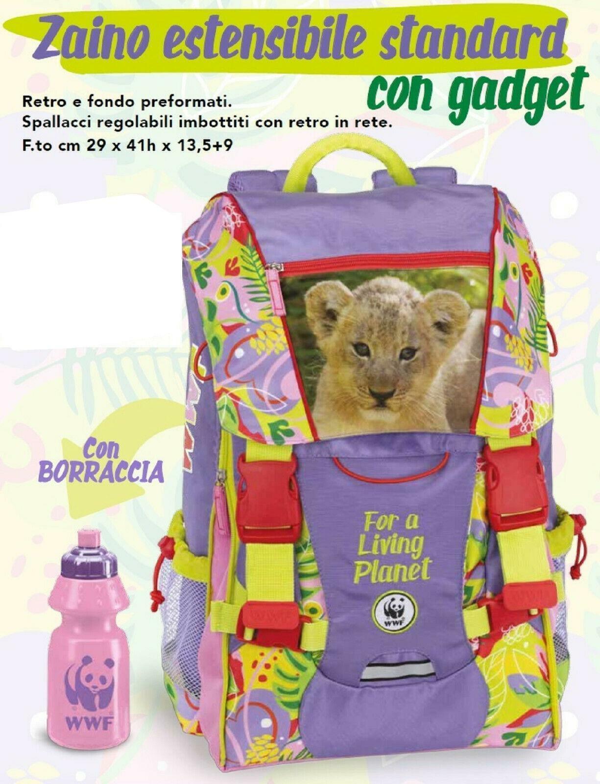 40d5d97779 ZAINO SCUOLA + WWF ITALIA ONLUS Novità 2019-2020 SCHOOL GIRL Backpack  BORRACCIA, oozftd8049-Articoli per la scuola