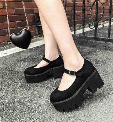 Womens Black Gothic Round Toe Faux Suede Mary Janes Platform High Heels Shoes