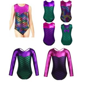 ec488e4763b3 Girls Kids Gymnastics Leotard Jumpsuit Shiny Mermaid Scale Ballet ...