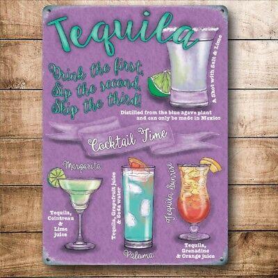 Vodka Cócteles Bebidas recetas Fiesta Bar Pub Club Pequeño Metal letrero de pared de acero