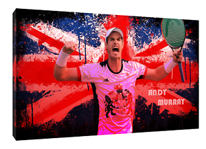 Andy Murray Tennis The Uk Flag Picture Print On Framed Canvas Wall Art-afficher Le Titre D'origine