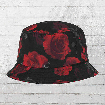 Yupoong by Flexfit Sommer Hut Roses Bucket Anglerhut Fisher Hat schwarz rot