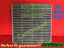 C36080 CARBONIZED CABIN AIR FILTER Fit Insight CR-Z 2009 & NEWER CF11182 800143P