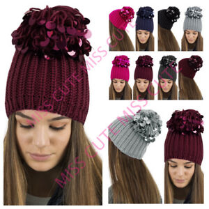 9f57b614d28 Image is loading WOMENS-KNITTED-BEANIE-HAT-LADIES-LARGE-SEQUIN-SPARKLE-