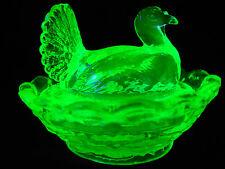 Green Vaseline glass salt turkey on nest basket dish uranium hen salt cellar dip