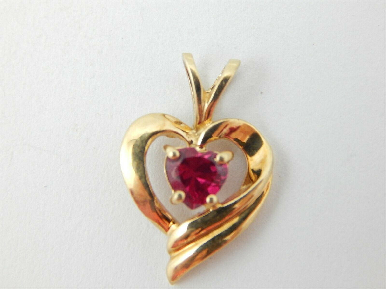 10k Yellow gold Heart Shaped Created Ruby .44 Carat Pendant Gift Box Included