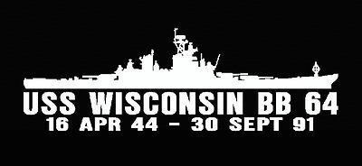 Sticker Military USN U S Navy USS WISCONSIN BB 64 Oval Decal
