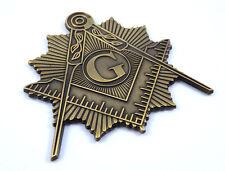 Mason squire & compass sunburst brass antique look  Metal car Emblem decal MAS15