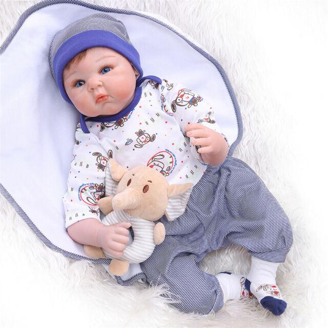 Reborn Newborn Dolls 22/'/'Lifelike Vinyl Silicone Baby Boy Doll Xmas Gift+Clothes