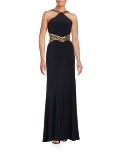 e894f9251abc Betsy & Adam Dress Sz 2 Navy Gold Beaded Jersey Long Formal Evening ...