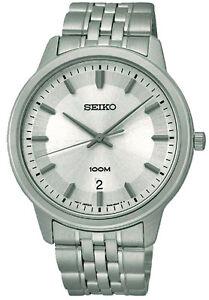 SEIKO-SUR027P1-Date-White-Dial-WR-100m-Men-039-s-Analogue-Watch-1-Year-Guarantee
