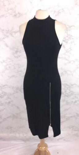 Paper Doll Women/'s Black Bodycon Mock Neck Zip Sheath Dress