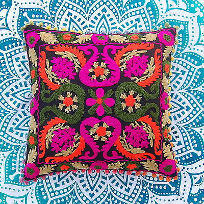 """Vintage Suzani Cushion Covers Indian Pillow Cases Handmade Embroidery 16x16"""""""