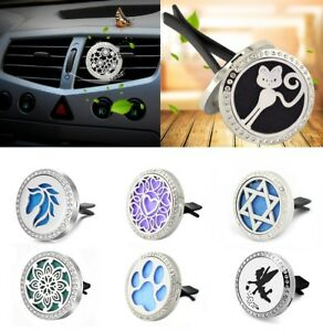 Stainless-Steel-Car-Air-Vent-Freshener-Essential-Oil-Diffuser-Locket-Clip-Pads