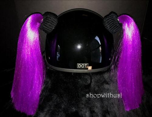 Purple Helmet Pigtails ~ Motorcycle Skateboarding ATV Biking ~ Pig Tail Ponytail
