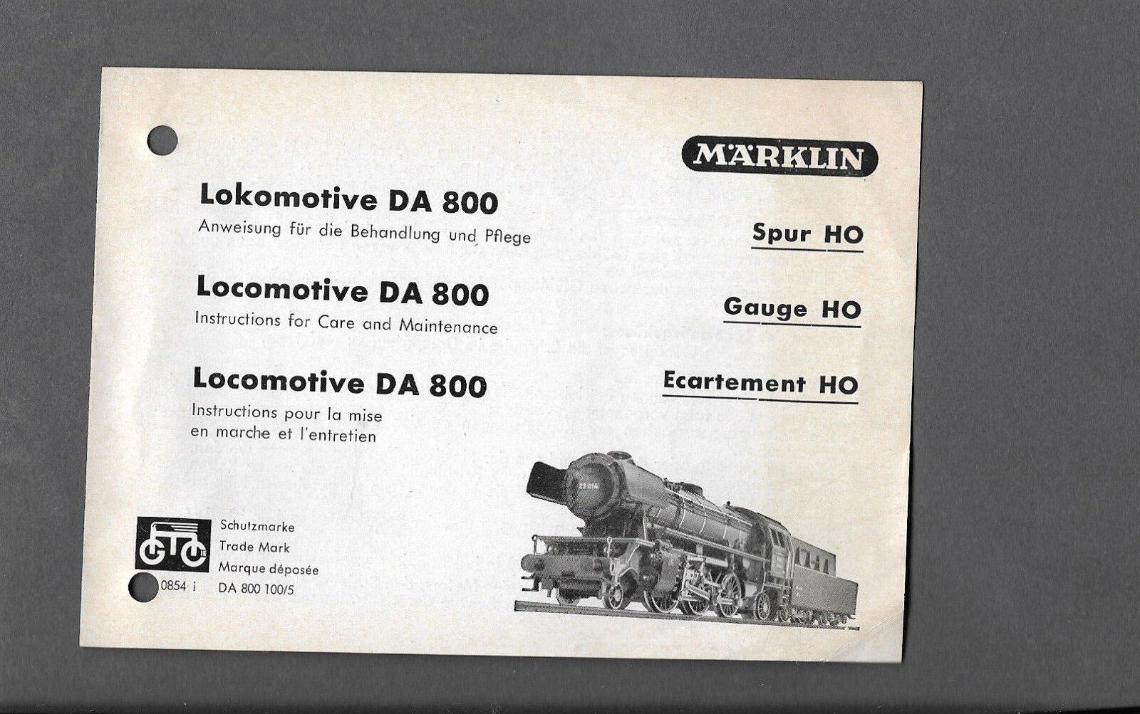 Istruzioni per la locomotiva di poiché 800 Märklin h0 di locomotiva 1954 1. esecuzione fffd8f
