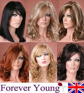 Senoras-de-largo-cabello-rubio-Peluca-Marron-Negro-Rojo-Full-Moda-Peluca-Forever-Young-Pelucas