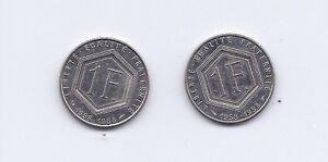 2-PIECES-DE-1-FRANC-DE-GAULLE-1958-1988