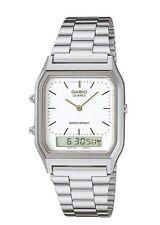 AQ-230A-7D Casio Watch Dual Time Silver Analog Digital Steel Band. TOIV