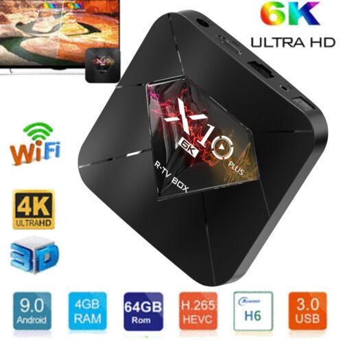 64GB TV-Box H6 UHD 4K Media Player 2.4G H4J9 R-TV-BOX X10 PLUS Android 9.0 4GB