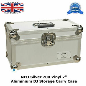 1-NEO-Silver-Storage-DJ-Flight-Carry-Case-for-200-Singles-45-rpm-vinyl-7-034-Record